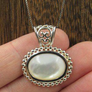 "20"" Sterling Silver Unique Shell Pendant Necklace"